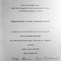 Urkunde für die Ehrenmitgliedschaft