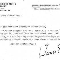 Schreiben von Werner Egk